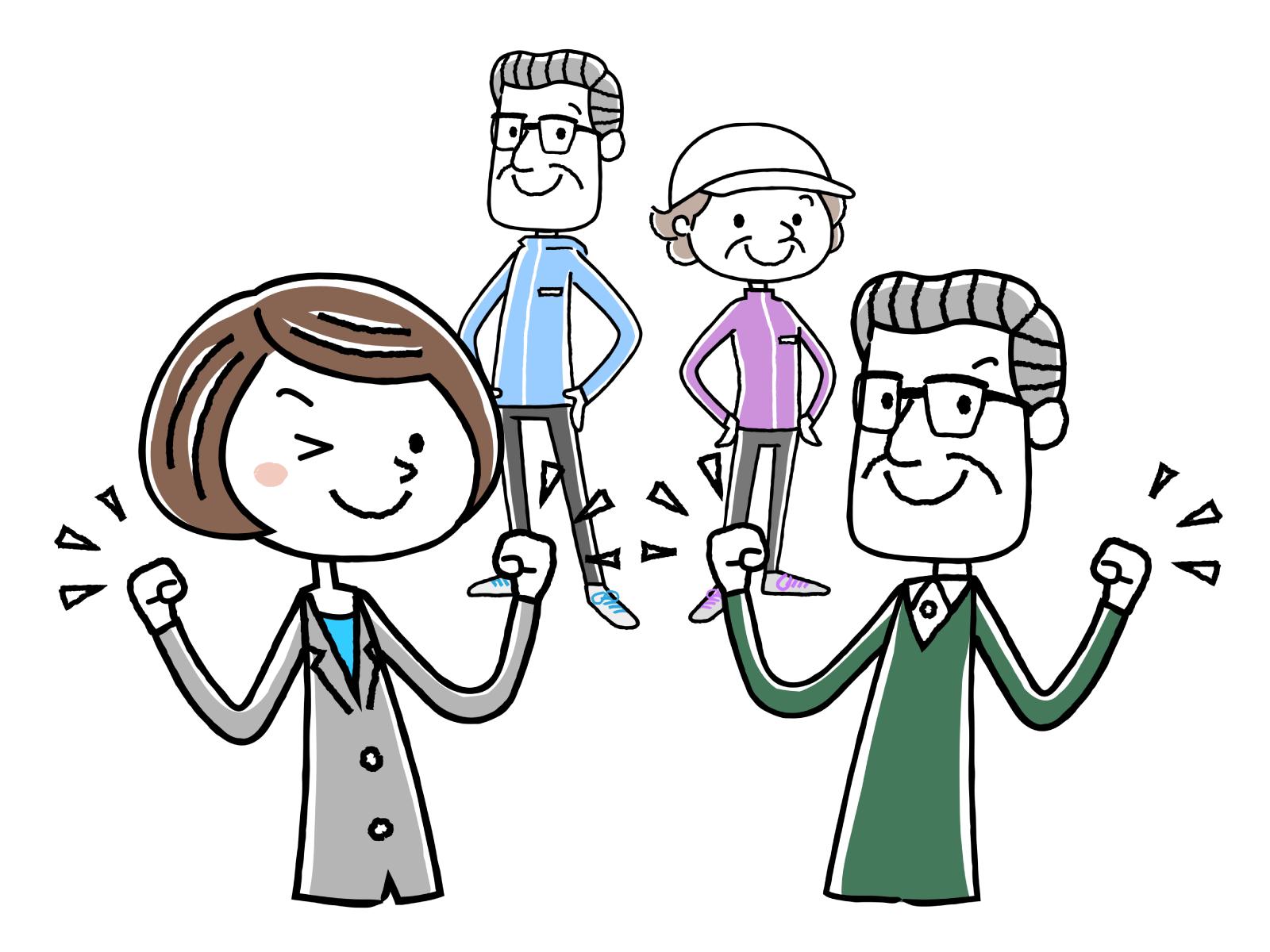 福祉用具が必要な高齢者が増えており、必要な職種のイメージイラスト