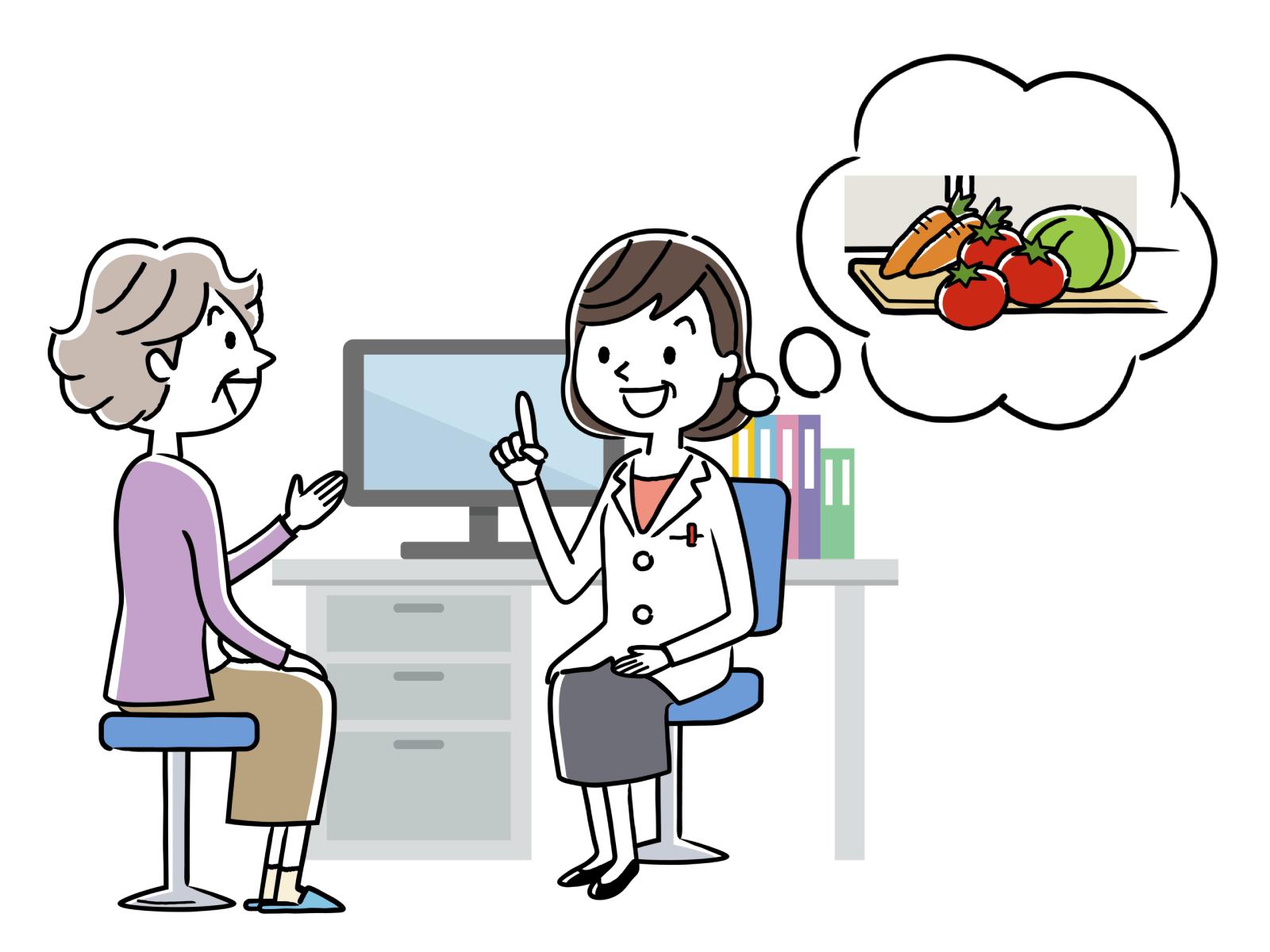 栄養指導、調理師と共同の仕事をするイメージイラスト