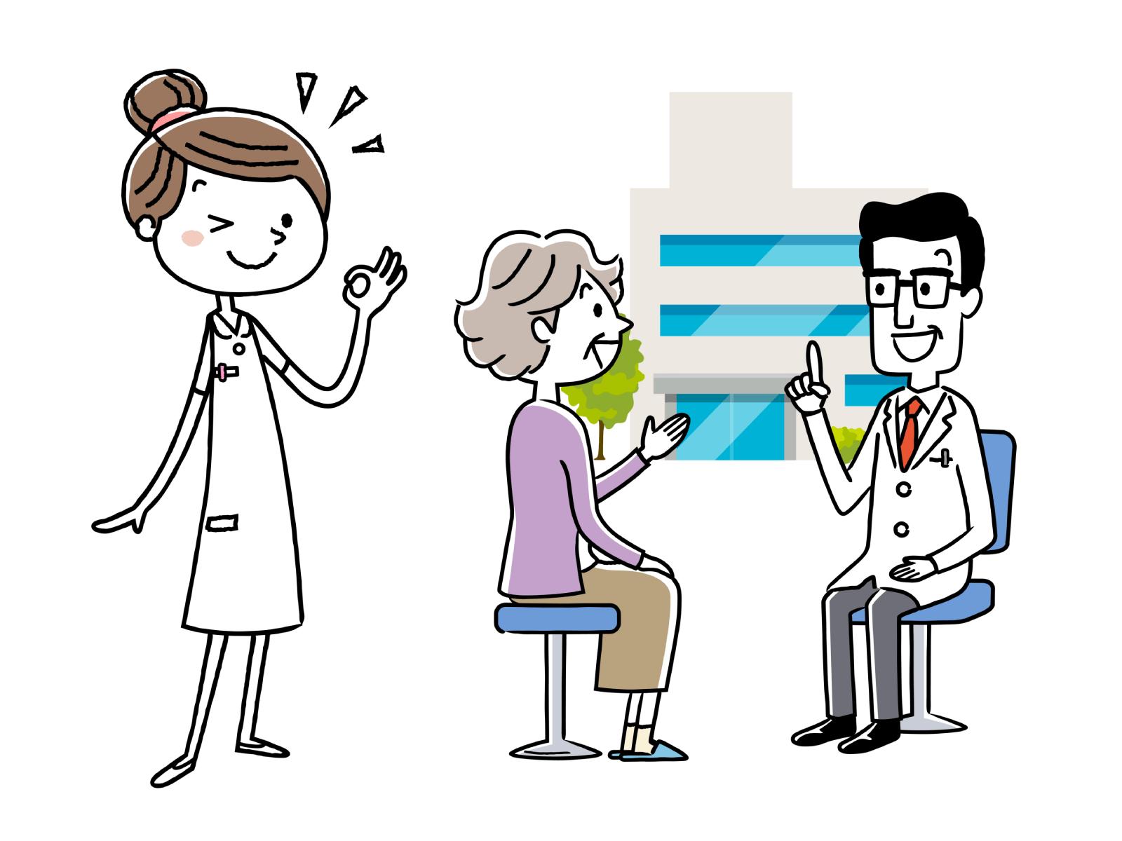 看護師の仕事は、診察・治療のサポートをするイメージイラスト