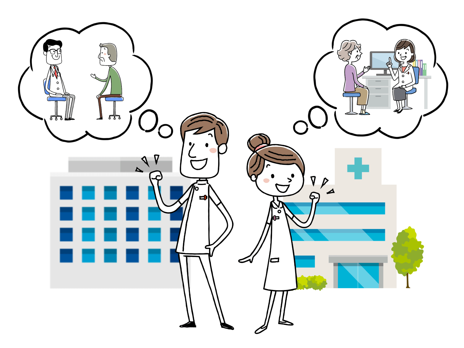 病院、診療所で医師のサポートをすることが仕事のイメージイラスト