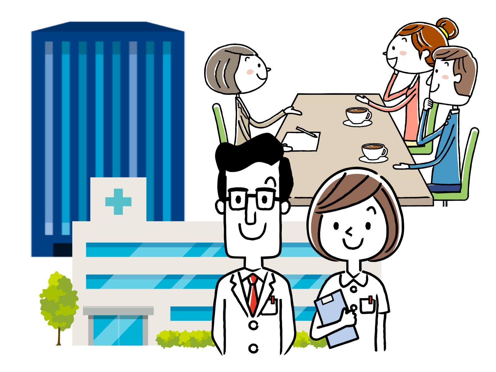 介護施設や病院などの場で活躍できるイメージイラスト