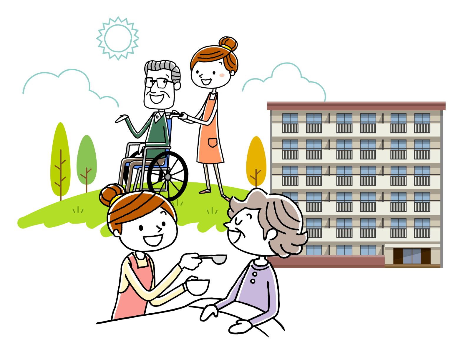 介護が必要な人の支援を行う仕事についてのイメージイラスト