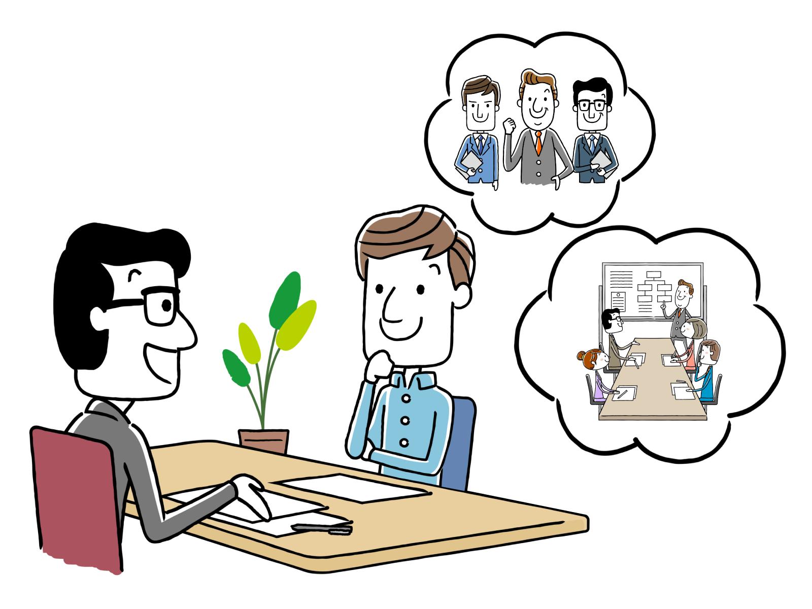 介護職志望者の職務経歴書の読まれ方についてのイメージイラスト