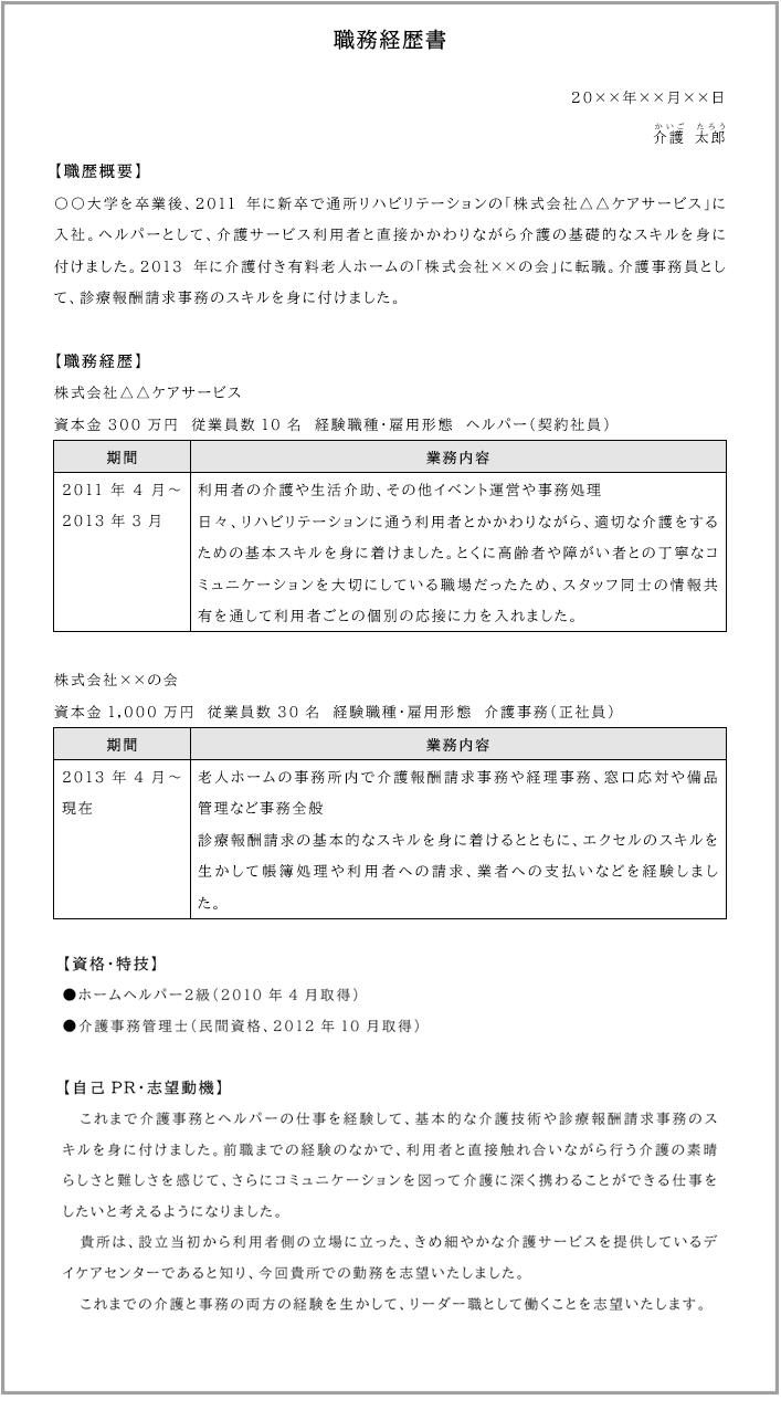 介護職の職務経歴書サンプル