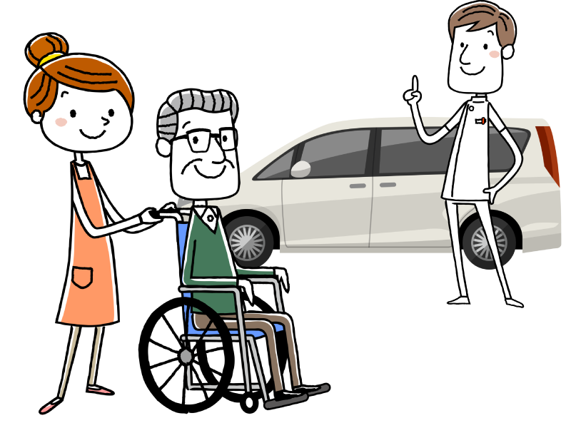 介護タクシーの仕事内容や受験資格についてのイメージイラスト