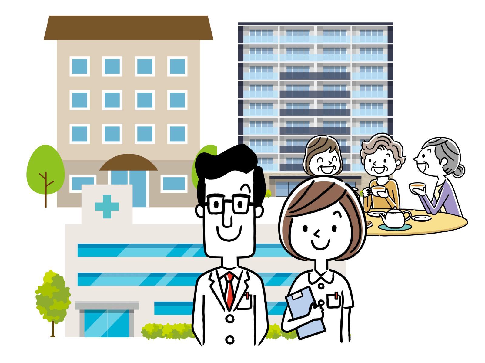 介護施設、病院、診療所が職場先のイメージイラスト