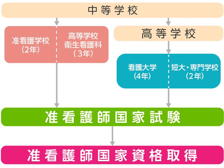 准看護師資格取得のためのルート図