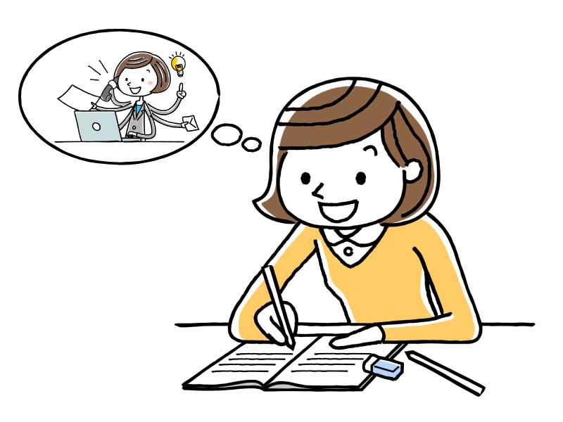 認定介護福祉士資格を取得するために勉強している人のイメージイラスト