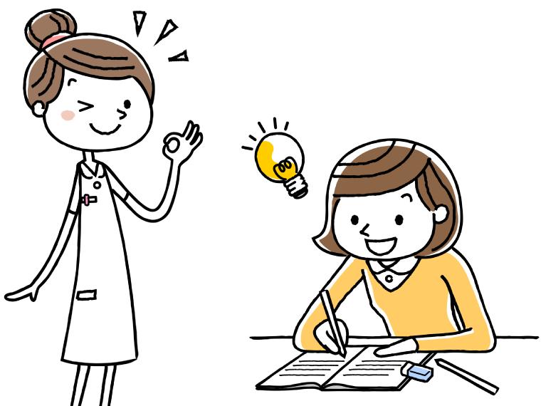 養護教諭免許を取得する保健師のイメージイラスト