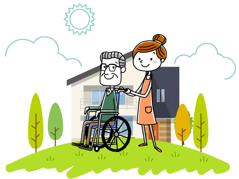 老人ホームをはじめとした高齢者施設のイメージイラスト